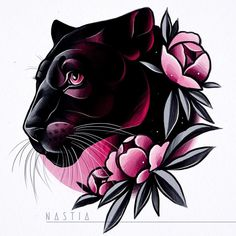 As aesthetically pleasing as tattoos are, they can be costly and require a lot of time, effort, and patience. Traditional Panther Tattoo, Traditional Tattoo Design, Tattoo Sketches, Tattoo Drawings, Art Drawings, Black Tattoos, Body Art Tattoos, New Tattoos, Tiger Tattoo