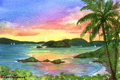 Sunrise at Trunk Bay Giclee Print