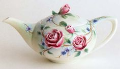 "Franz porcelain English rose teapot -- FZ00697 - English Garden Rose Design - Sculptured Porcelain Teapot 9"" L x 5 3/4"" W x 5 "" H $95"