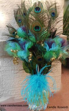 Very pretty but I don't know if I'd want it for my wedding. I want it do… Very pretty but I don't know if I'd want it for my wedding. I want it done in sophisticated black and white Peacock Centerpieces, Peacock Decor, Peacock Colors, Peacock Theme, Peacock Wedding, Peacock Feathers, Wedding Centerpieces, Wedding Table, Wedding Flowers