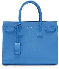 SAINT LAURENT Blue Baby Sac De Jour Tote Bag. #saintlaurent #bags #shoulder bags #hand bags #leather #tote #lining #