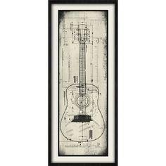 Architectural Guitar Giclee Framed Graphic Art | Wayfair