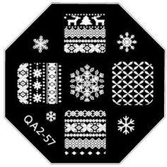 Xmas Christmas Elk Nordic Knits Snowflake Small Nail Art Stamping Plates QA57 #Unbranded