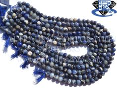 Sodalite Smooth Round (Quality D) Shape: Round Smooth Length: 36 cm Weight Approx: 27 to 29 Grms. Size Approx: 7.5 to 8.5 mm Price $3.20 Each Strand