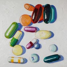 Available for sale from De Buck Gallery, Kelly Reemtsen, Not Every Pill is Bitter Oil on panel, 30 × 30 in Mental Health Art, Pharmacy Student, Wayne Thiebaud, Desperate Housewives, Political Art, A Level Art, Food Illustrations, Beautiful Paintings, Pills
