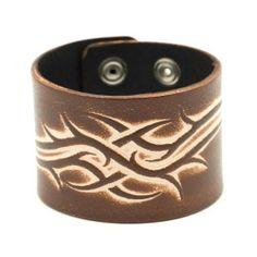 Brown tribal genuine tattoo leather wristband bracelet by 81stgeneration 81stgeneration. $4.95. .