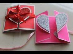 DIY Heart Greeting Card / Handmade Card Tutorial, - Sites new Simple Birthday Cards, Handmade Birthday Cards, Valentine Day Cards, Valentine Heart, Diy Birthday, Birthday Card Making, Handmade Anniversary Cards, Valentines Card Design, Valentines Greetings