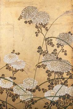 Detail. Japanese folding screen. White Chrysanthemums and wild grasses. mineral pigments on gold leaf. Circa 1850.