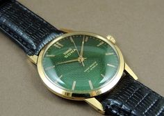 Vintage HMT Sona Hand Wind 17J India Mechanical Watch Green Dial GoldPlate Case #HMT #Casual