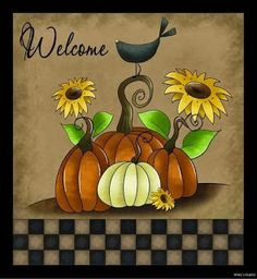 AUTUMN WELCOME PUMPKIN SIGN Primitive Country Home decor Rustic Fall plaque (: