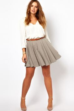 ASOS CURVE Exclusive Skater Skirt With Belt