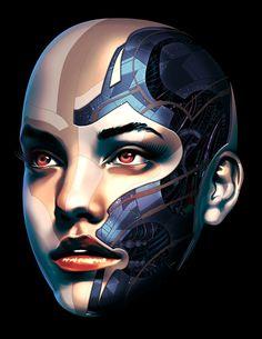 Future Face - Alpha 4 by on DeviantArt Cyberpunk Kunst, Cyberpunk Girl, Robot Makeup, Futuristic Makeup, Cyborg Girl, Cyberpunk Aesthetic, Robot Girl, Ex Machina, Arte Horror