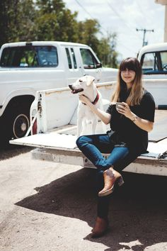 vision of my adult life: boots, bangs, dog, truck.