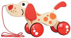 Walk-A-Long Puppy Wooden Pull Toys for toddlers! My little girl loves wooden toys and puppy dogs so a pull along dog is perfect for her! Great Birthday gift for a Toddler girl or boy!