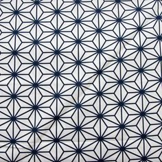 """Kokka Cotton Sheeting- """"Flowers"""" in White and Blue"""