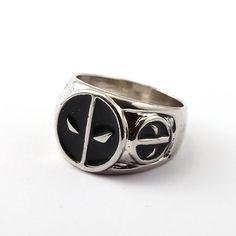 Deadpool Title Mercenary Super Hero Movie Black Tungsten Engraved Ring Jewelry