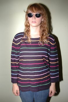 Nos Vintage Lands End Stripe Sweater Size by iansvintagetreasury, $20.00