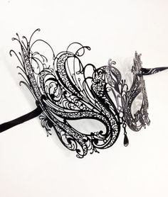 Black Swan Masquerade Mask - Classic Black Handcrafted Masquerade Mask - Halloween Costume, Masquerade Ball, Little Black Dress Attire