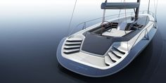 The Peugeot Design Lab 30m concept yacht has an innovative architecture including a deck that flows completely over the cabin area. Due to the unbroken sweep of glass panels around the hull, the inter