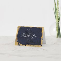 Thank You Card, Starry Night Celestial Navy Gold | Zazzle.com