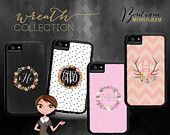 Custom Monogrammed Xtreme Cases, Iphone 4 & 4s, Iphone 5, Iphone 5s (comparable to Otterbox brand), Wreath Designs