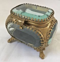 Flocked bottom cover shows a little wear. Minor separation of flocked cover from bottom of casket. Glass Trinket Box, Trinket Boxes, Vintage Ring Box, Old Boxes, Pretty Box, Mirror Set, Jewellery Boxes, Gold Filigree, Little Boxes