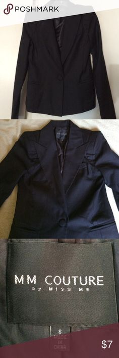 Miss Me cute black jacket Light blend cotton jacket fully lined in black silk, one button front  closure two front pockets , never worn MM Couture by miss me Jackets & Coats