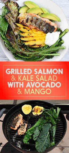 Grilled salmon kale salad with mango -- this was delicious! would remove stems of kale next time.