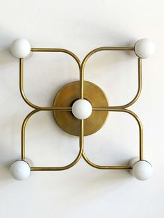Brass Five Light Wall Lamps by Leola
