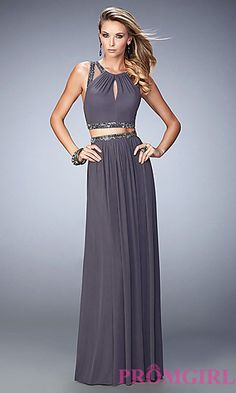 Two Piece Long Sheer Back Prom Dress by La Femme at PromGirl.com