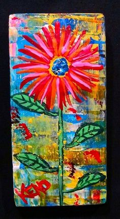 RED SUNFLOWER~painting Abstract FOLK ART Maine outsider~COASTWALKER