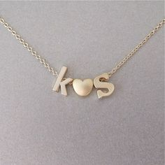 2 Gold Initial & Heart Charm Necklace  by tangerinejewelryshop, $42.00