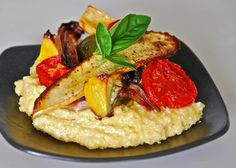 Roasted Vegetables on Creamy Polenta  from here:  http://www.thekitchn.com/jeans-roasted-vegetables-on-cr-95385