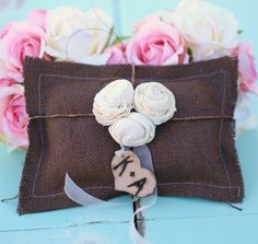 Items similar to Burlap Chocolate Brown Rustic Ring Bearer Pillow Personalized Wood Heart With Paper Roses (Item Number on Etsy Wedding Album, Our Wedding, Wedding Ideas, Wedding Bells, Wedding Stuff, Ring Bearer Pillows, Ring Pillow, Rustic Ring Bearers, Rustic Pillows