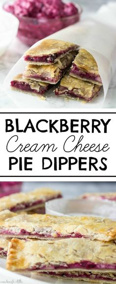 Cream Cheese Pie Dippers Looking for a new fun way to eat pie? These Blackberry Cream Cheese Pie Dippers are it!Looking for a new fun way to eat pie? These Blackberry Cream Cheese Pie Dippers are it! Blackberry Recipes, Apple Pie Recipes, Baking Recipes, Sweet Recipes, Blackberry Pie Bars, Blueberry Pies, Pie Crust Recipes, Cake Recipes, Cream Cheese Pie