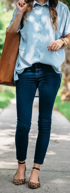 Casual Over-sized Shirt + Leopard Print Flats