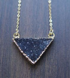Black Druzy Triangle Necklace  14k Gold  OOAK by friedasophie