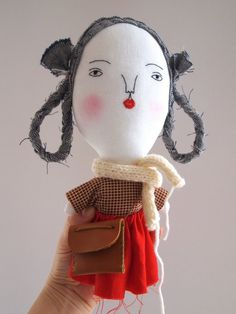Linen doll hand embroidered Red Riding Hood by JessQuinnSmallArt
