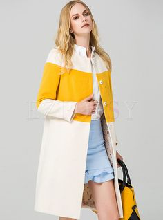 Shop eavnos white/yellow wool blend color block coat here, find your coats at dezzal, huge selection and best quality. Short Leather Jacket, Iranian Women Fashion, Coats For Women, Clothes For Women, Stylish Jackets, Fashion Pictures, Winter Fashion, Fashion Dresses, Wool Blend
