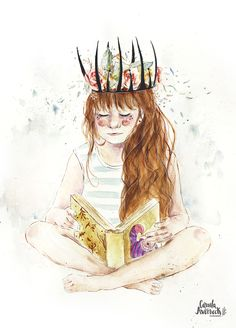 My own world of books and watercolors. By Camila Averbeck. #watercolor #queen #illustration #aquarela #ilustração #books #livros #coroa #crown