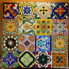 Mexican handmade tiles in a collage for a backsplash
