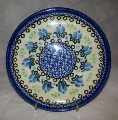 Polish Stoneware Pottery 61/4 Plate w/Brass by MyCozyCottageHome, $16.50