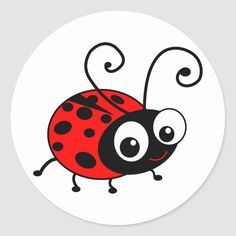 Shop Cute Ladybug Classic Round Sticker created by inspirationzstore. Ladybug Rocks, Ladybug Art, Insect Clipart, Ladybug Cartoon, Rock And Pebbles, Painted Flower Pots, Clip Art, Rock Crafts, Round Stickers
