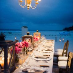 I like the lanterns for a beach dinner