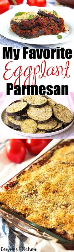 Vegan Eggplant Parmesan - hearty, crispy, flavorful and filled with hearty eggplant. I love serving this Eggplant Parmesan over a bed of fettucine pasta fresh from the oven.