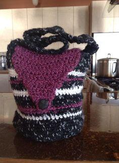 #12 black & purple soft-washed wool