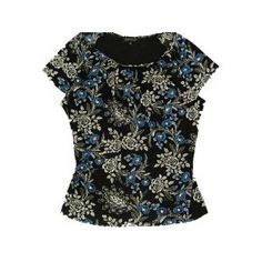 Jones New York Women's Short Sleeve Shirt Black Multi 1X (Apparel)