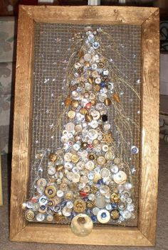 Starry Night Christmas Tree Framed Button Art by lynnery on Etsy, $149.00: