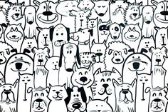 Design For Kids Free printable coloring pages for children that you can print out and color. Puppy Coloring Pages, Adult Coloring Book Pages, Colouring Pages, Coloring Sheets, Coloring Books, Dog Line Drawing, Animal Doodles, Kawaii Doodles, Dog Logo