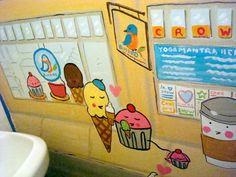 A mural in an ice cream shop bathroom